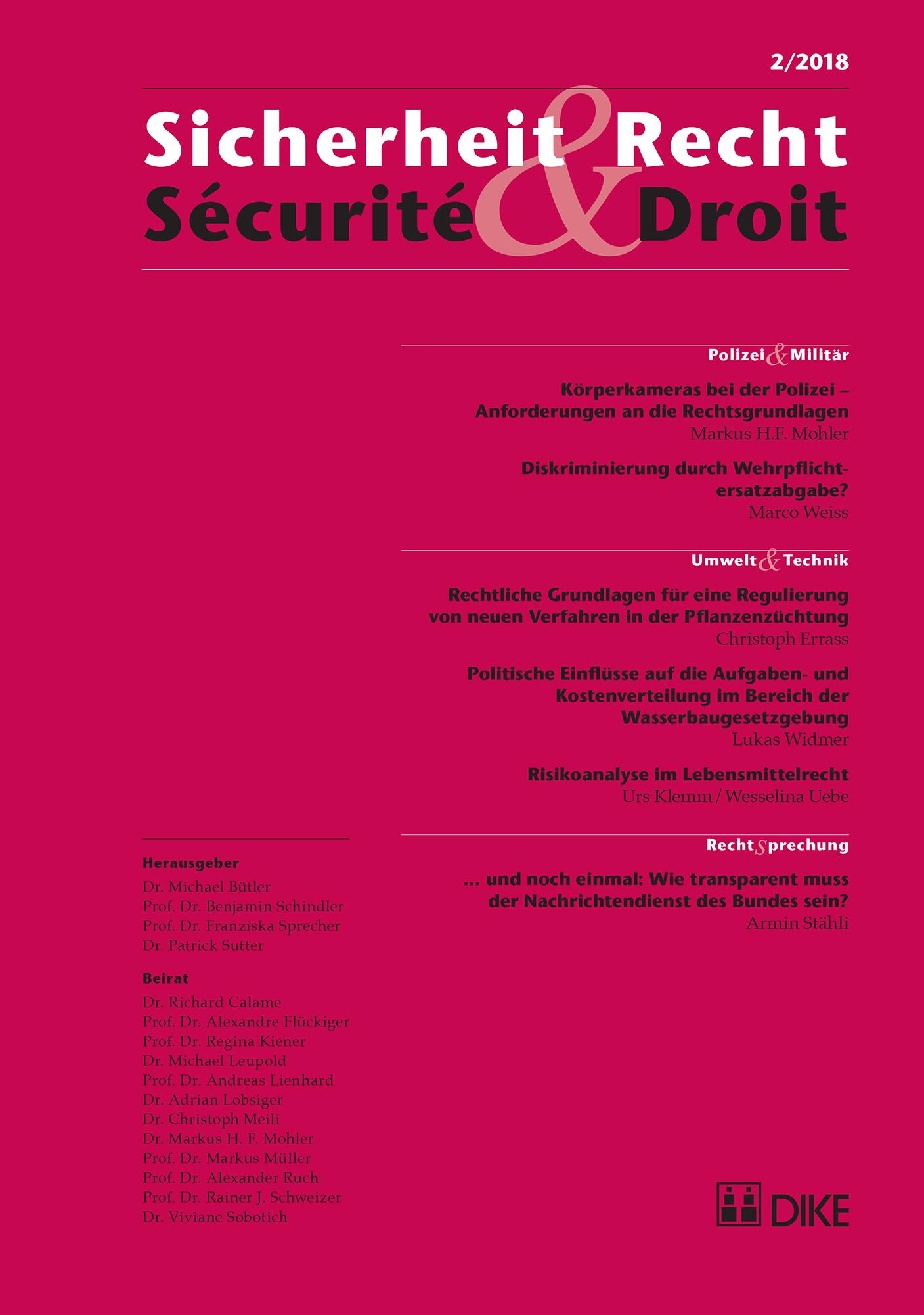 Sicherheit & Recht / Sécurité & Droit 02/2018